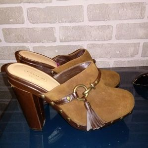 COACH Brown Suede Mules Clogs Sz 7M